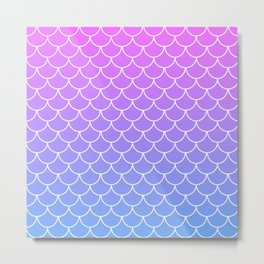 Pink and Blue Mermaid Scales Metal Print