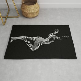 0443s-MM Black and White Zebra Striped Art Nude Figure on Black Rug