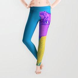 Cat Vomit - Purple Poot + Blue Background Leggings