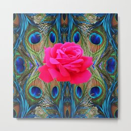 FUCHSIA PINK ROSE & BLUE PEACOCK FEATHERS ART ABSTRACT Metal Print