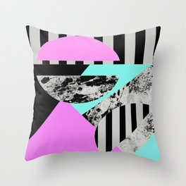Abstract Geometric Semi Circles In Block Pink, Balck And White And Stripes Throw Pillow