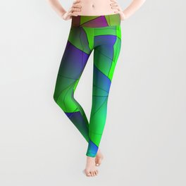 Bright fragments of crystals on irregularly shaped green and purple triangles. Leggings