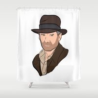 indiana Shower Curtains featuring Indiana Jones by Rachel Barrett