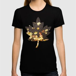 Gold yellow maple leaves autumn asphalt road T-shirt