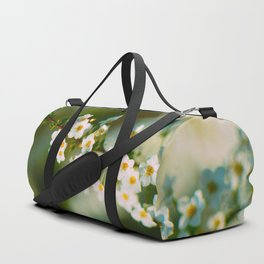 Bokeh White Floral Flowers Charming Lily White Blossoms Green Leaves Duffle Bag