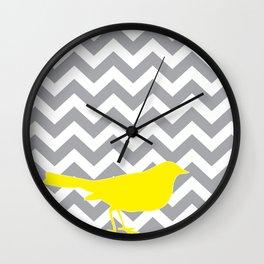 Yellow Bird on Gray Chevron Wall Clock