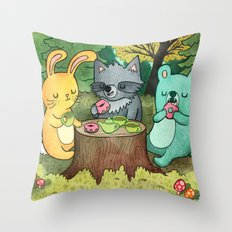 Woodland Animal Picnic Throw Pillow
