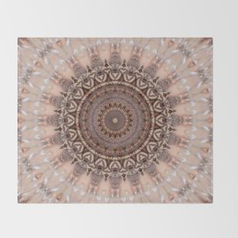 Mandala romantic pink Throw Blanket