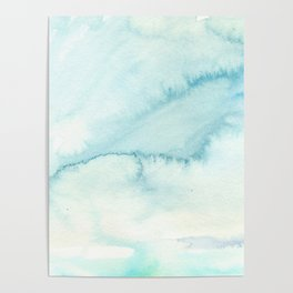 Abstract hand painted blue teal watercolor paint pattern Poster