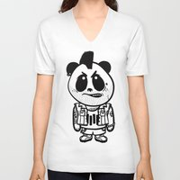 punk rock V-neck T-shirts featuring Punk Rock Panda  by Team Rapscallion