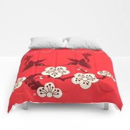 Humming Birds & Plum Blossom Flowers Comforters