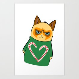 Ginger Cat in Holiday Sweater 04 Art Print