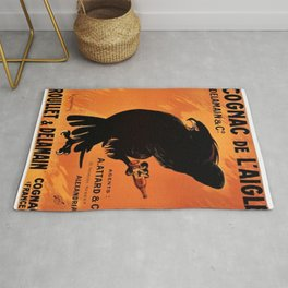 Vintage Cognac de l'Aigle Brandy Alcoholic Beverage Advertising Poster Rug