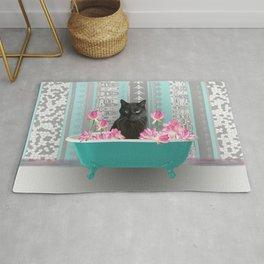 SNOKI - Black cat in turquoise Bathtub with Lotos Flowers Rug
