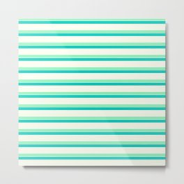 Seafoam Green & Cream Stripes Metal Print