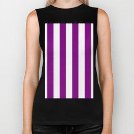 Vertical Stripes - White and Purple Violet Biker Tank