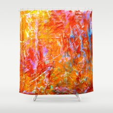 Abstract with Circle in Gold, Red, and Blue Shower Curtain