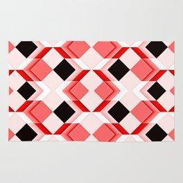 Op art, diamonds, cuboids and cubes, reds Rug