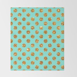 Chic Gold Glitter Polka Dots Pattern On Turquoise Throw Blanket