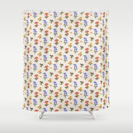 Playful Pattern with Mushrooms and Snails Shower Curtain