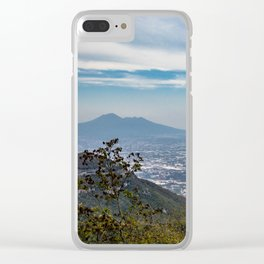 View of the valley from the Regional Park of Monti Lattari, Pompeii and Mount Vesuvius Clear iPhone Case