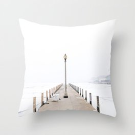 Snowy Lake Michigan Pier Throw Pillow