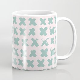 Contemporary X Paint Cross stich Pink Mint Pattern Coffee Mug