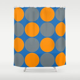 orange and gray circles blue background Shower Curtain