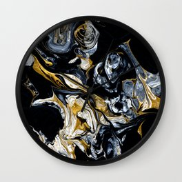 Black Gold & White Abstract II Wall Clock