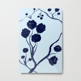 Blue oil painted Flowers Metal Print