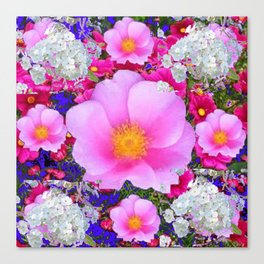 MODERN ART FUCHSIA ROSES  WHITE FLORAL GARDEN Canvas Print