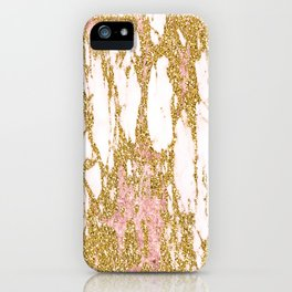 Gold Marble - Intense Glittery Yellow and Rose Gold Marble iPhone Case