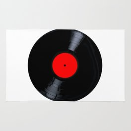 Blank Red Record Label Rug