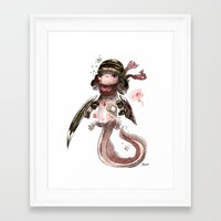 bouletcorp Framed Art Prints featuring Axolotl Barbare by Bouletcorp