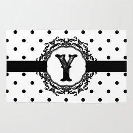 Black Monogram: Letter Y Rug