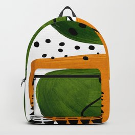 Modern Mid Century Fun Colorful Abstract Minimalist Painting Olive Green Yellow Ochre Buns Backpack