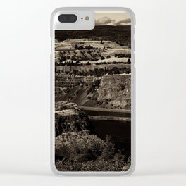 Black and White Landscape in Sepia Tone Clear iPhone Case