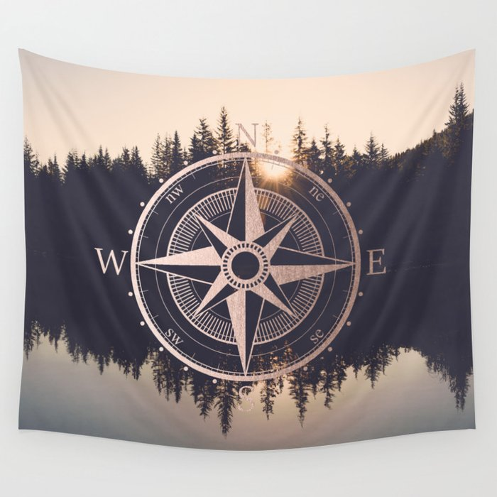 Rose Gold Compass Forest Wall Tapestry By Cascadia Society6