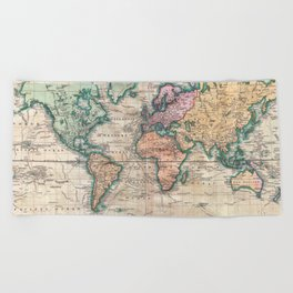 Vintage World Map 1801 Beach Towel
