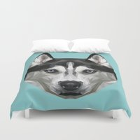 husky Duvet Covers featuring Husky // Blue by peachandguava