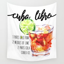 Cuba Libre - Watercolour Cocktail - Typography Art Wall Tapestry