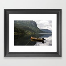 Silent sea with boat Framed Art Print