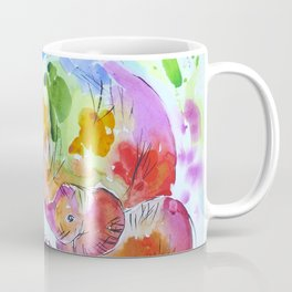 Colourful Mother and Baby Elephant Coffee Mug