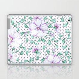 Modern botanical hand painted lilac green floral polka dots Laptop & iPad Skin