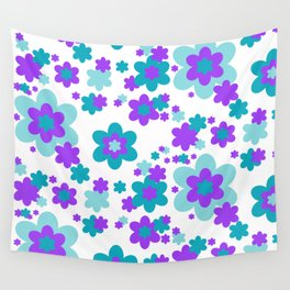 Turquoise Teal Blue and Purple Floral Wall Tapestry