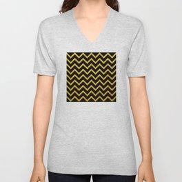 Art Deco Glitter-Gold Zigzag Lines on Black Pattern Unisex V-Neck