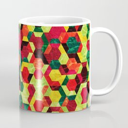 Colorful Half Hexagons Pattern #05 Coffee Mug
