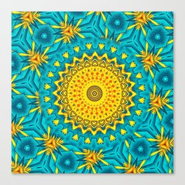 Birds of Paradise Circular Geometric Blended Floral Pattern \\ Yellow Green Blue Teal Color Scheme Canvas Print