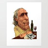bukowski Art Prints featuring Bukowski by C.M. Duffy
