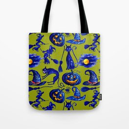 Halloween Witches on Brooms & Jack-O-Lantern Pattern Tote Bag